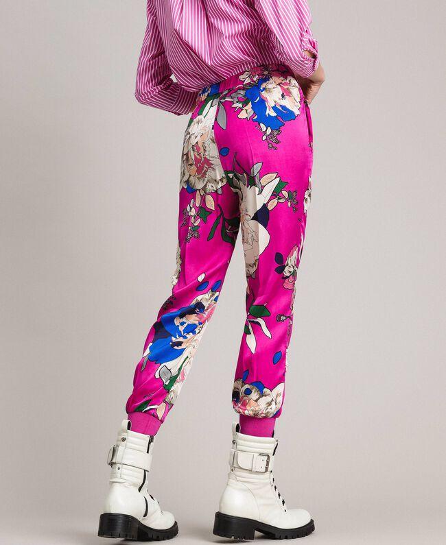 Pantalon de jogging en satin floral Imprimé Anémone Sylvie Rose Femme 191TP2473-04