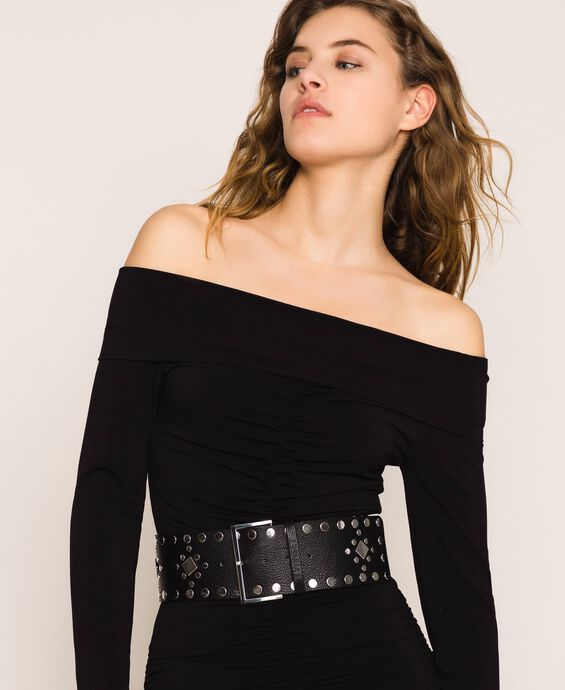 Studded wide leather belt
