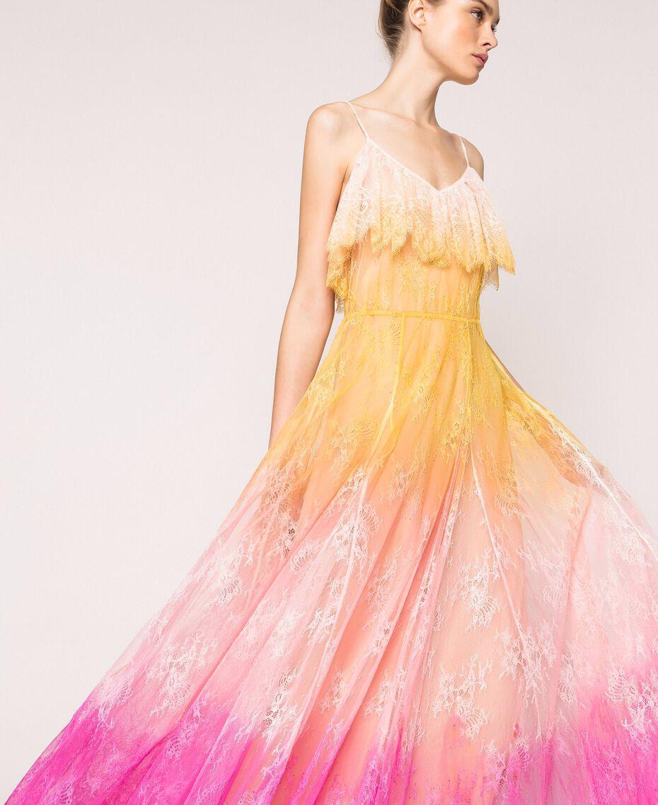 Robe longue en dentelle tie&dye Multicolore Tie Dye Rose Femme 201TT2282-01