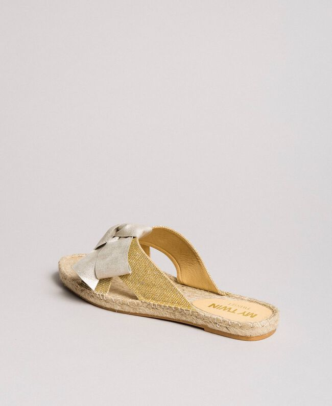 Criss-crossed slippers with bow Gold Yellow Woman 191MCP150-04