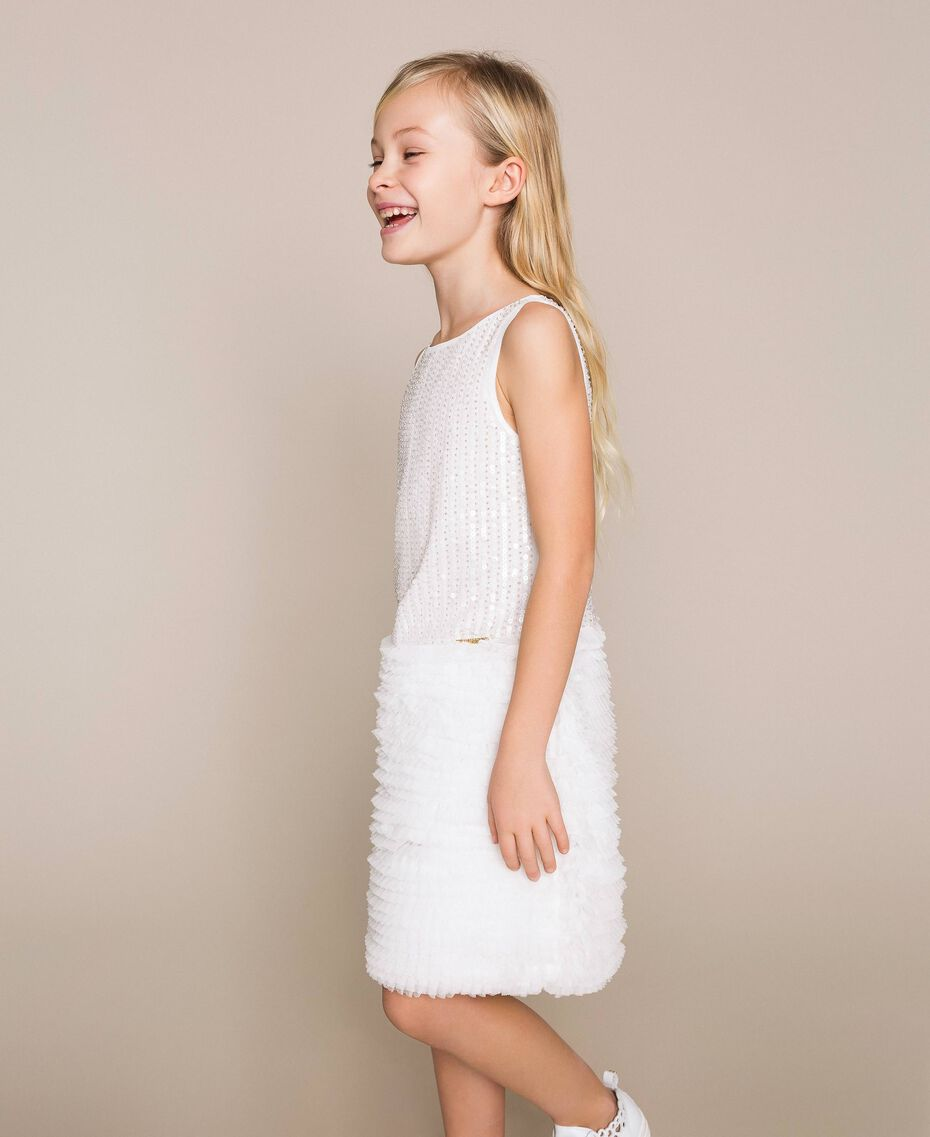 Sequin embroidery and tulle dress Off White Child 201GJ2Q6A-02