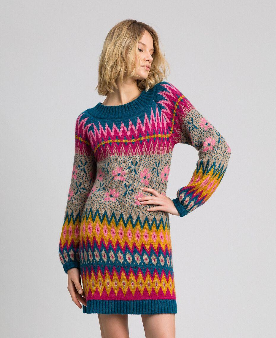 """Multicolour jacquard mini dress """"Lake"""" Blue Multicolour Jacquard Woman 192MP3180-01"""
