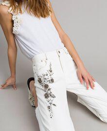 Pantalon en drill avec broderie Blanc Femme 191TT2520-05