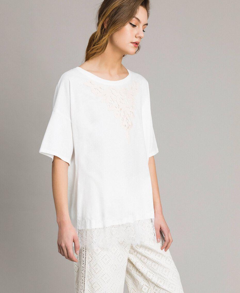 Maxi t-shirt avec dentelle Bicolore Blanc Cassé / Écru Femme 191ST2083-02