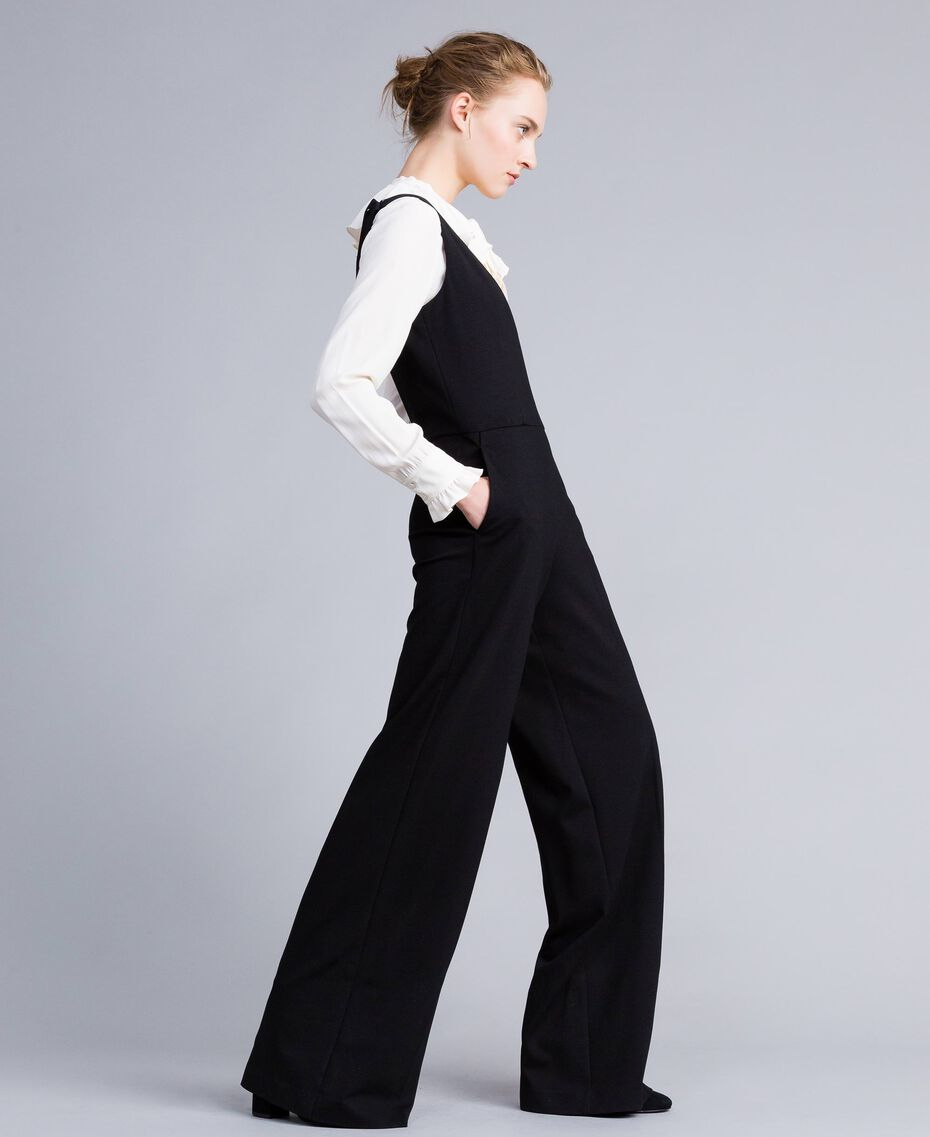 "Sleeveless jumpsuit with silk blend shirt Bicolour Black / ""Snow"" White Woman PA8212-02"