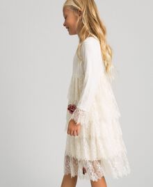 Chantilly lace dress with embroidered roses Pale Cream Child 192GJ2670-02