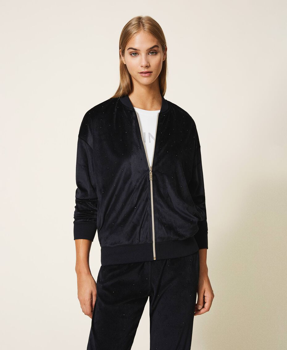 Chenille sweatshirt with rhinestones Black Woman 202LL2GEE-01