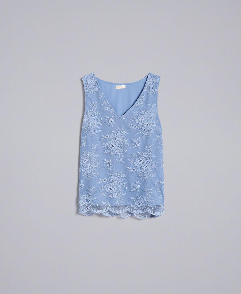 Scalloped lace top Baby Blue Woman SA82HN-0S