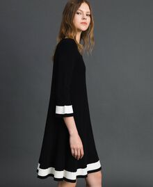 "Contrasting band dress Black / ""Papyrus"" White Woman 192TP3102-02"