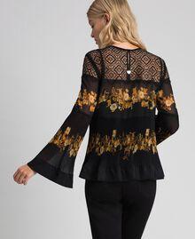 Blouse en mousseline avec imprimé floral Imprimé Rayures Patch Fleur Baroque Noir Femme 192TT2540-04
