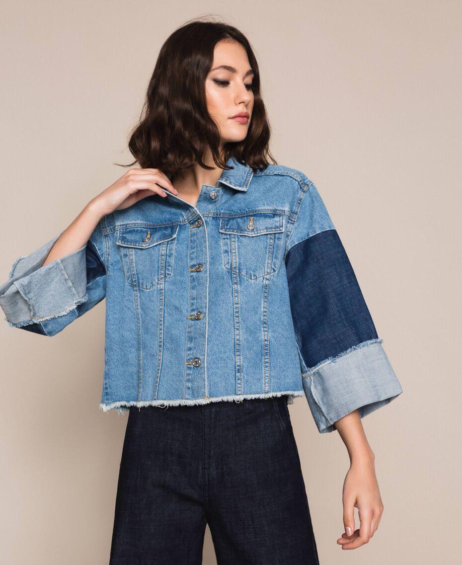 Blouson boxy en jean color block Bleu Denim Femme 201MP2290-01
