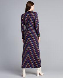 Abito lungo jacquard a righe lurex multicolor Jacquard Riga Lurex Blu Donna TA838E-03