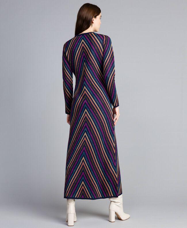 Robe longue jacquard à rayures lurex multicolores Jacquard Rayure Lurex Bleu Femme TA838E-03