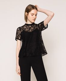 Lace blouse with flounce Black Woman 201ST2150-05