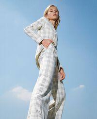 Wool blend wide leg trousers