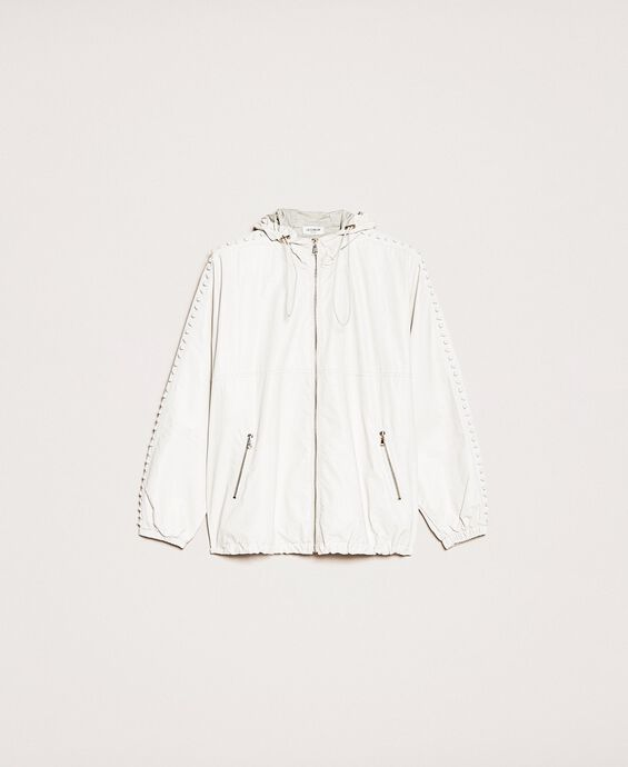 Faux leather bomber jacket with embroidery