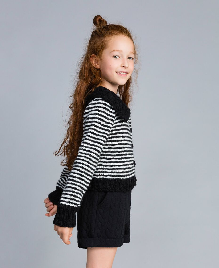Striped wool blend cardigan Bicolour Black / Off White Child GA83KA-02