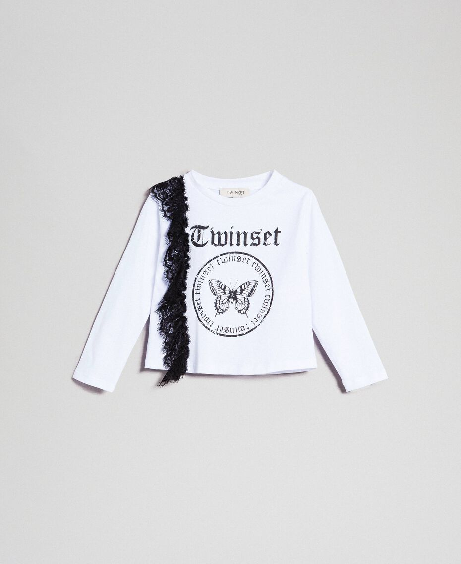 T-shirt with lace inlay and print White / Black Child 192GB243A-01