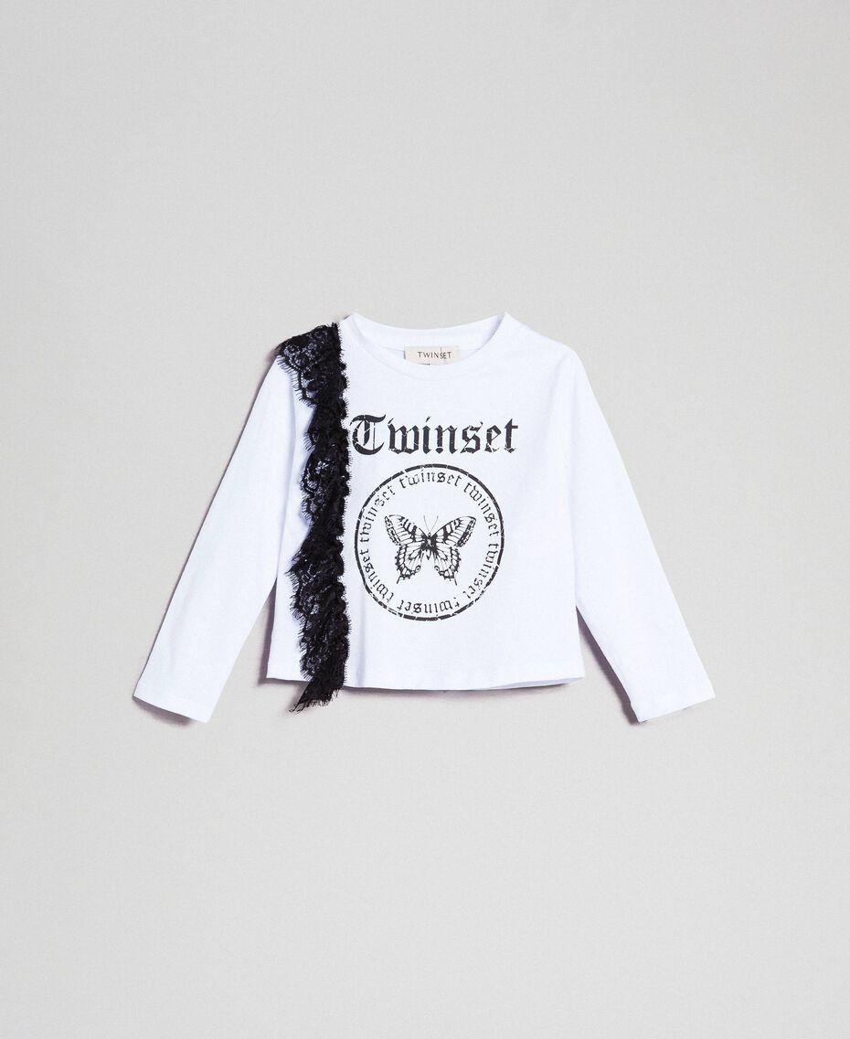 T-shirt avec insertion en dentelle et imprimé Blanc / Noir Enfant 192GB243A-01