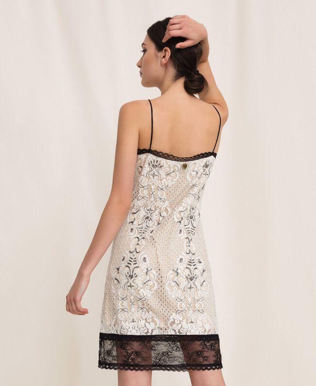 Кружевное платье-комбинация с вышивками Слоновая кость женщина 201TP2463-03