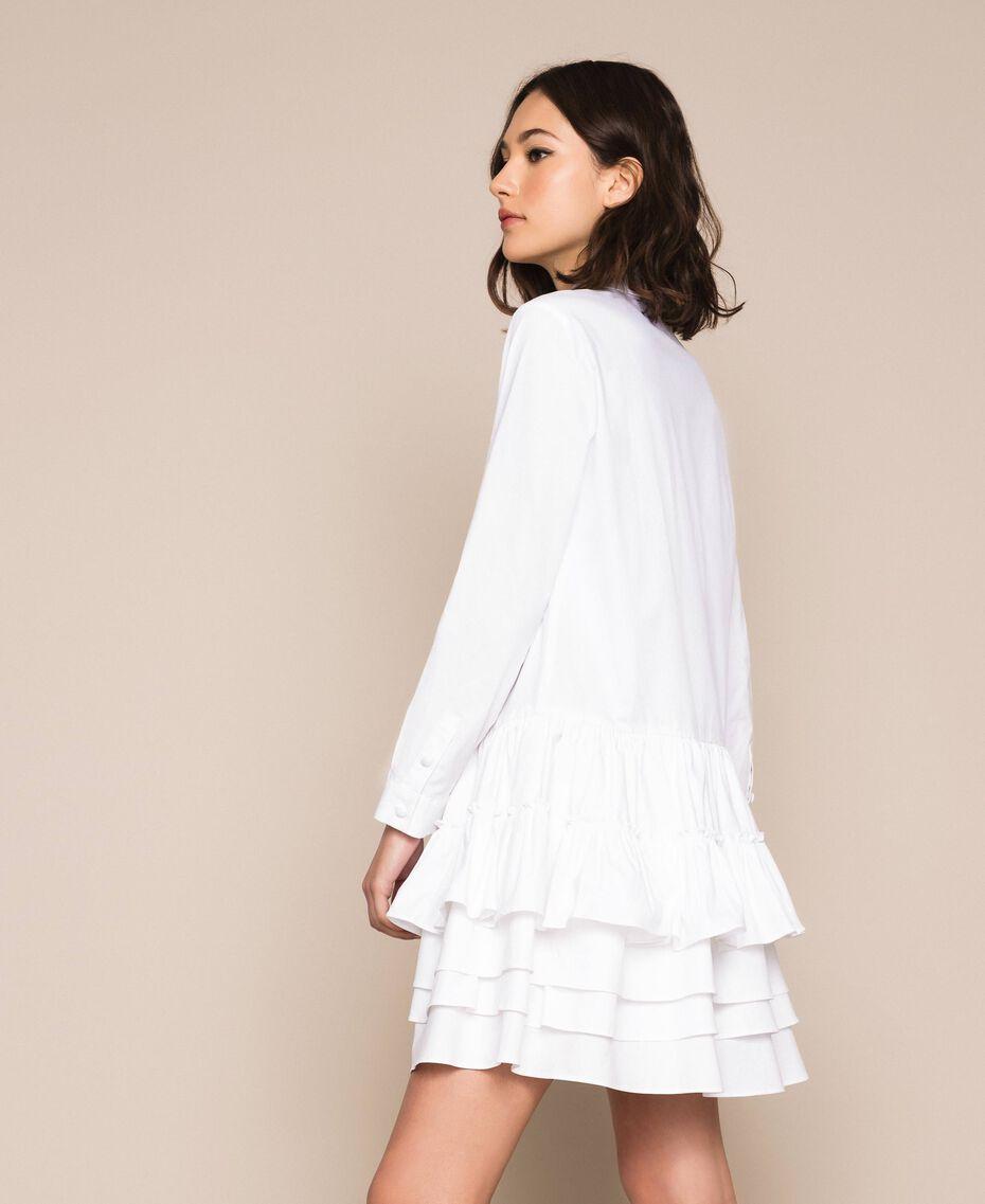 Поплиновое платье-рубашка с оборками Белый женщина 201ST2020-02