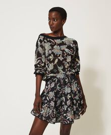 Floral print cardigan-jumper Black Indian Flower Print Woman 211TT3141-02