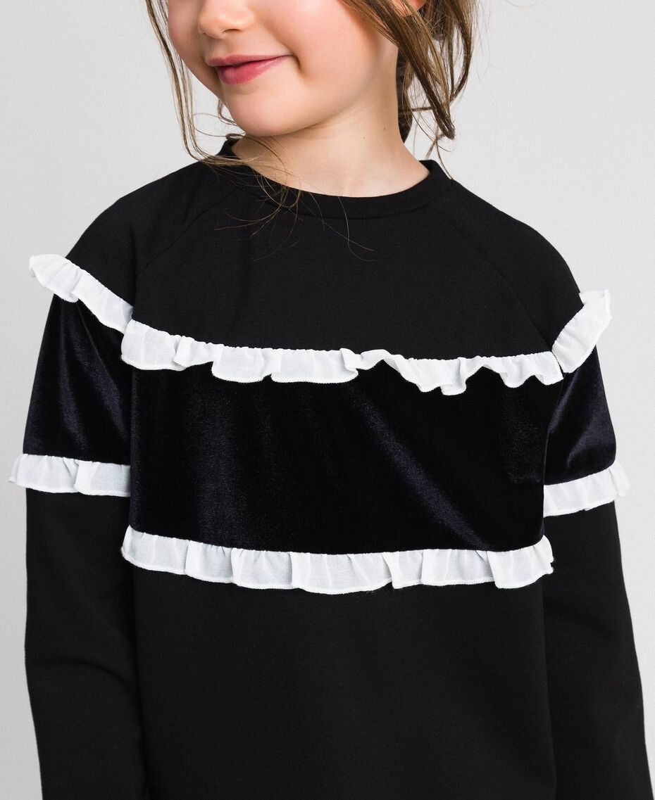 Sweat avec insertion en velours et volants Bicolore Noir / Blanc Enfant 192GJ2469-05