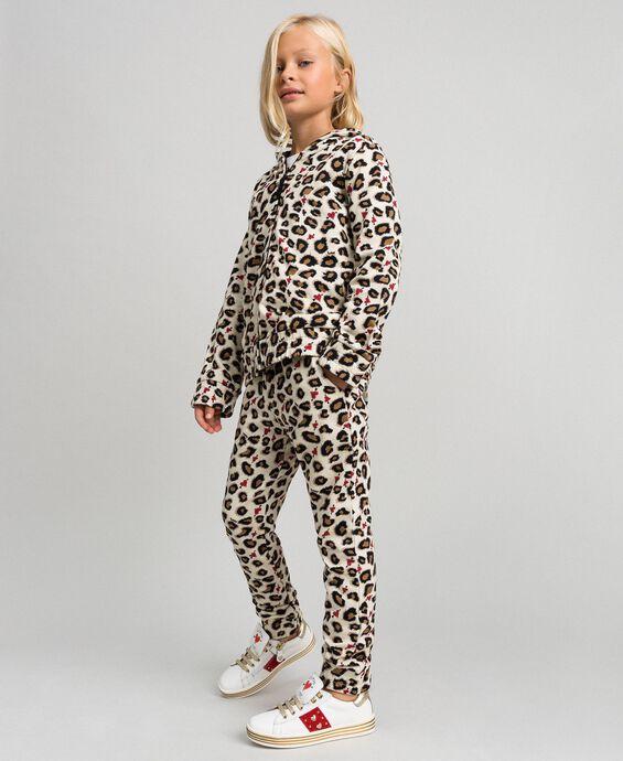Pantalon avec imprimé animalier et cœurs