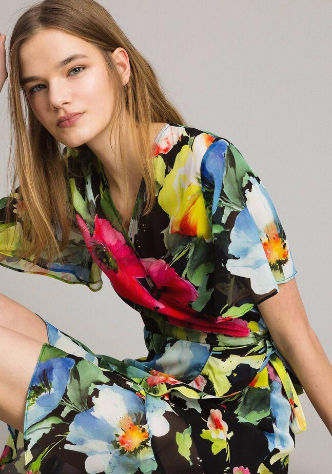 Floral print georgette dress
