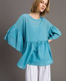 Wide sleeve blouse with flounce Daylight Blue Woman 191LM2HCC-01