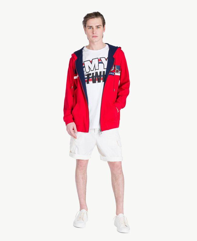 "Striped sweatshirt ""Geranium"" Red Man US821Q-05"