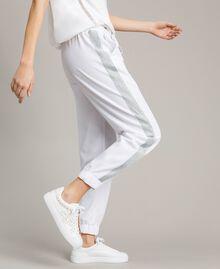 Jogging trousers with lurex panels White Woman 191LL25KK-01