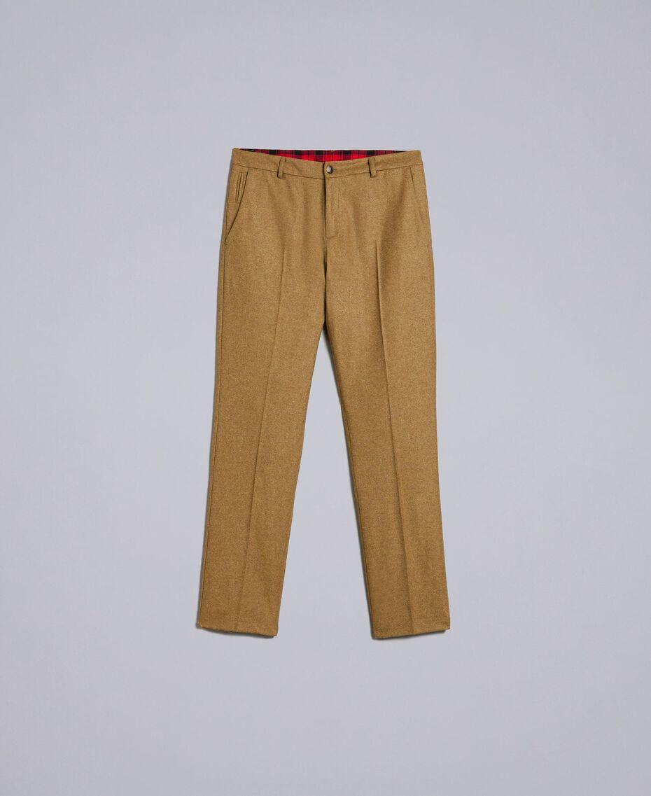 Hose aus Flanell Karamellbraun-Melange Mann UA82C1-0S