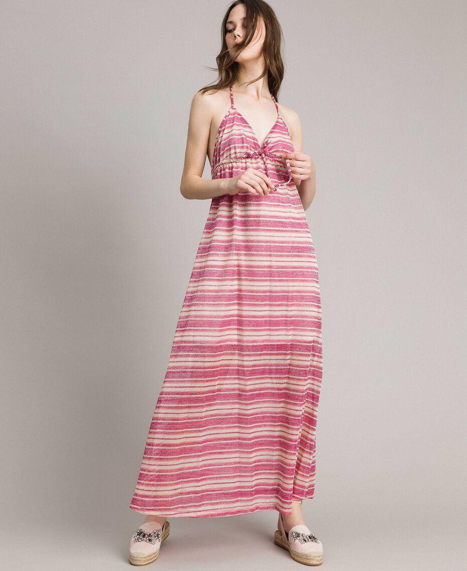 """Abito lungo a righe lurex Riga Multicolor Pink / Rosa """"Tangerine Cream"""" Donna 191LB2AFF-02"""