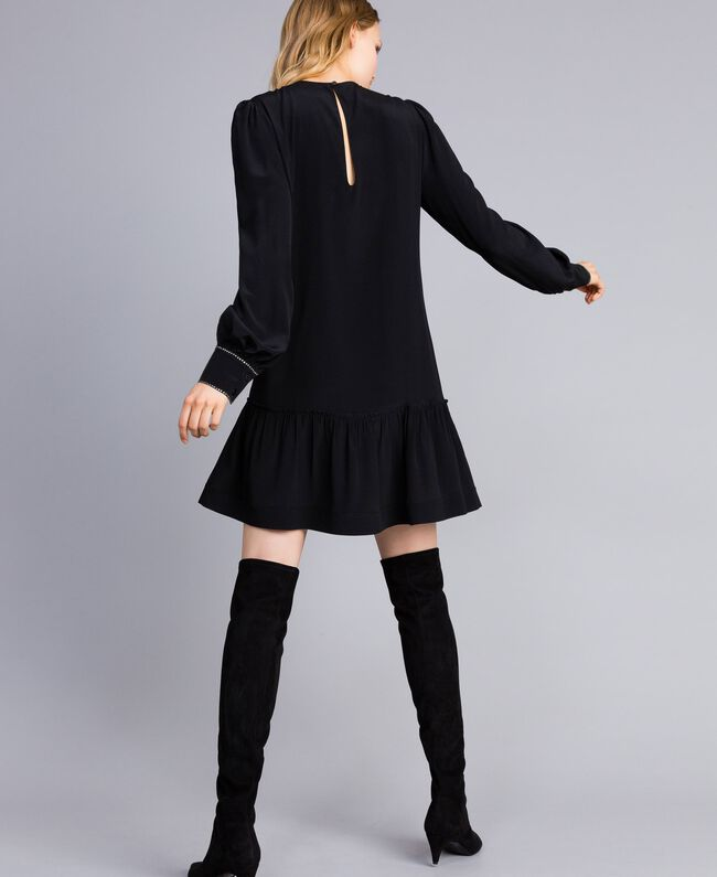 Kurzes Kleid aus Seidenmischung mit Strass Schwarz Frau TA8234-03