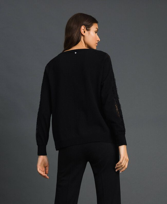 Pull avec dentelle incrustée Noir Femme 192TP3172-03