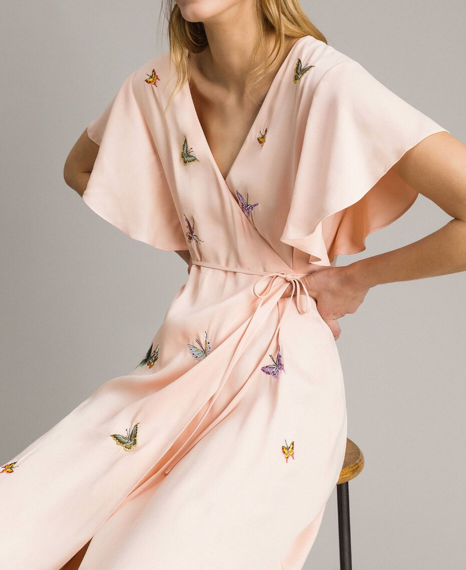 "Satin long dress with butterfly embroidery ""Rose Sand"" Pink Woman 191TT2112-05"
