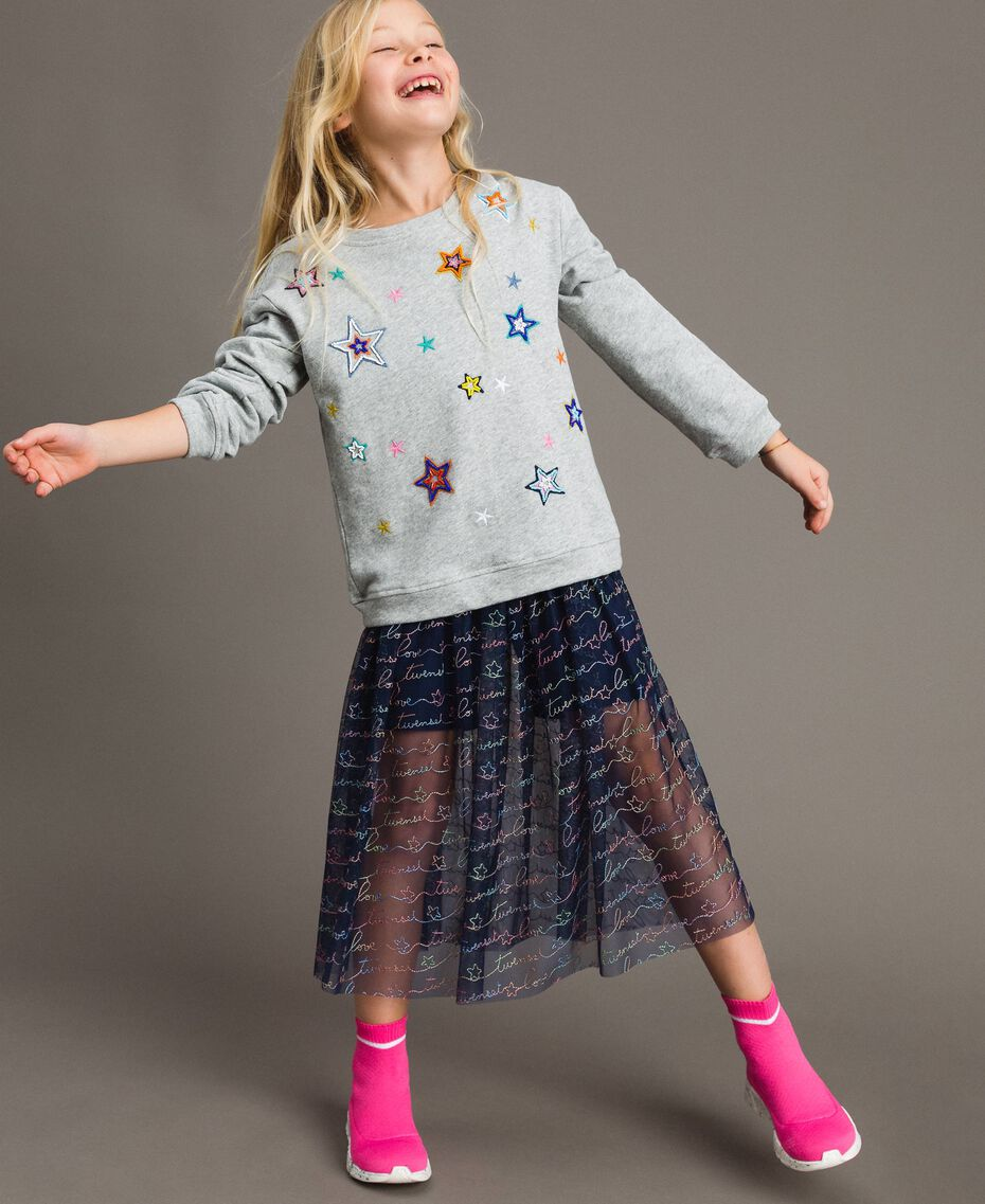Strech cotton sweatshirt with star embroideries Light Gray Mélange Child 191GJ2321-0S