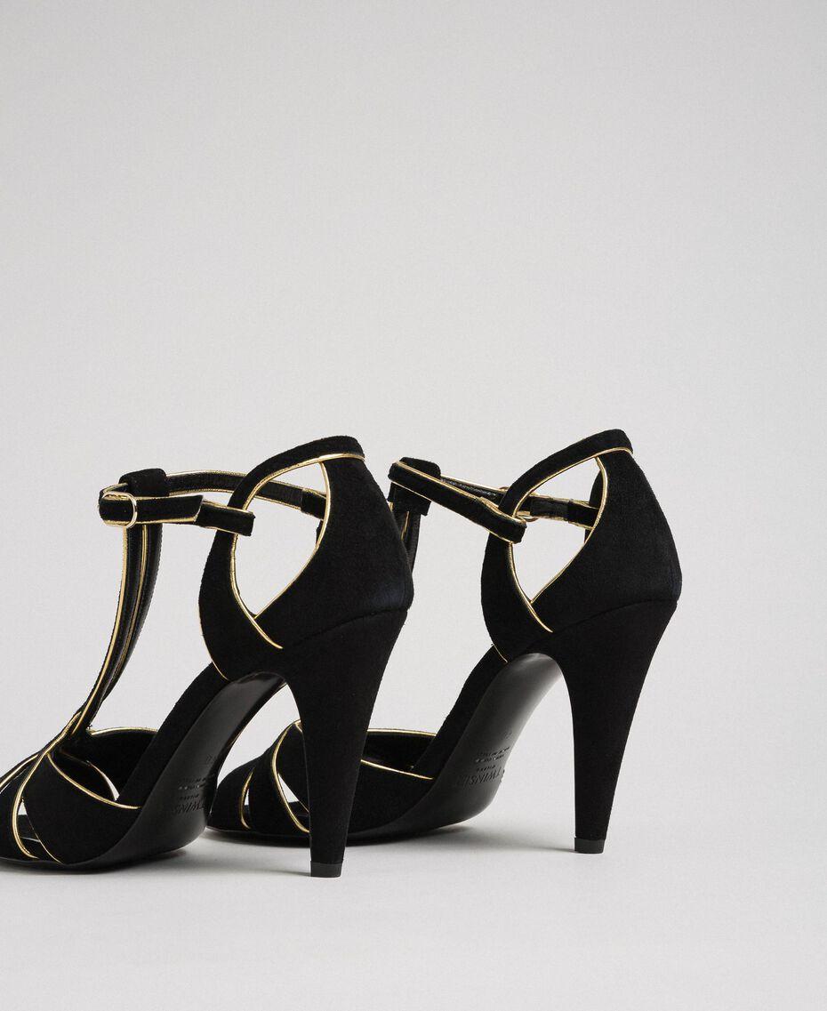 Sandalette aus Rauleder Schwarz Frau 192TCT01G-02