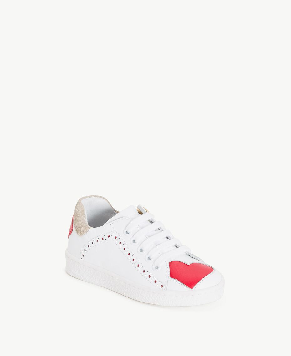 """Heart sneakers Two-tone """"Papyrus"""" White / Pomegranate Red Child HS86BN-02"""