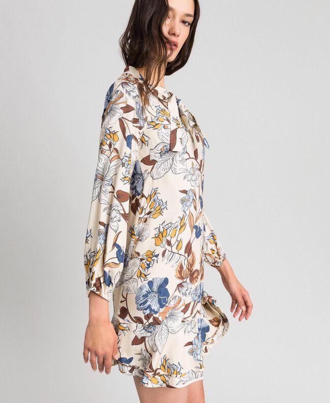 Floral print dress Cream Autumn Flower Print Woman 192ST2220-03