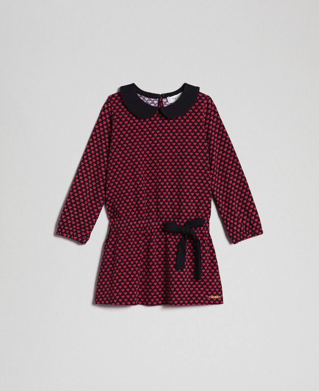 Robe en crêpe avec cœurs all-over Imprimé Petits Cœurs Enfant 192GB2530-01
