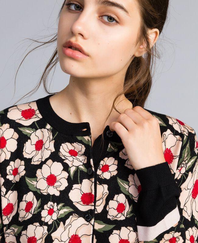 Printed viscose blend mandarin collar top Caramel / Black Windflower Print Woman YA83B1-01