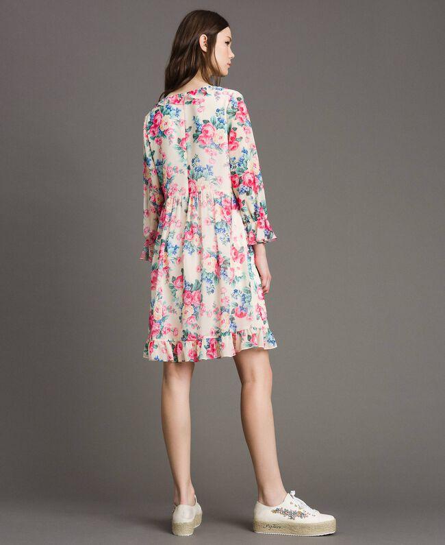 Georgette-Kleid mit Blumenmuster Motiv Tuch Weiße Blumen Frau 191MP2331-03