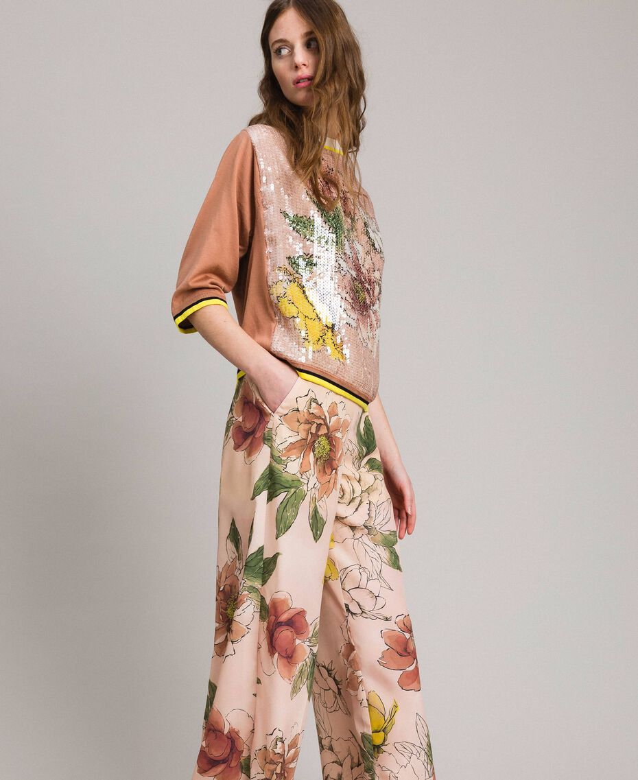 "Sequin jumper with contrasting trims Multicolour ""Desert Rose"" Beige / ""Shell"" Beige Flowers Print Woman 191MT3110-02"