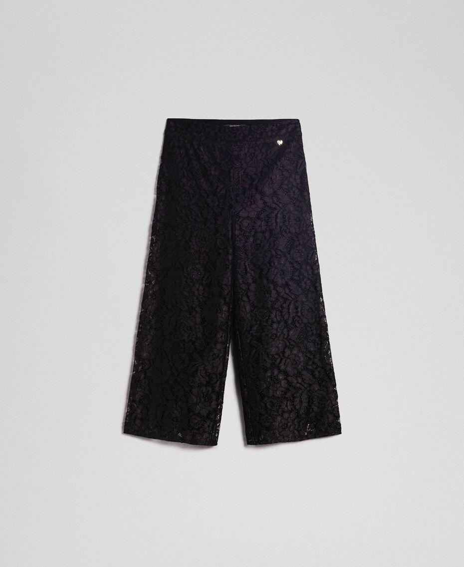 Pantalon cropped en dentelle macramé Noir Femme 192MP2491-0S