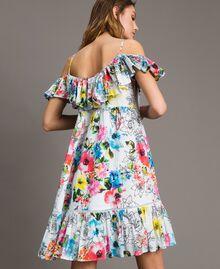 Vestido con estampado de flores, vuelo y volantes Estampado All Over Flores Multicolor Blanco Óptico Mujer 191MT2290-04