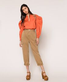 Blouse en popeline brodée Orange Parrot Femme 201TT2130-0T