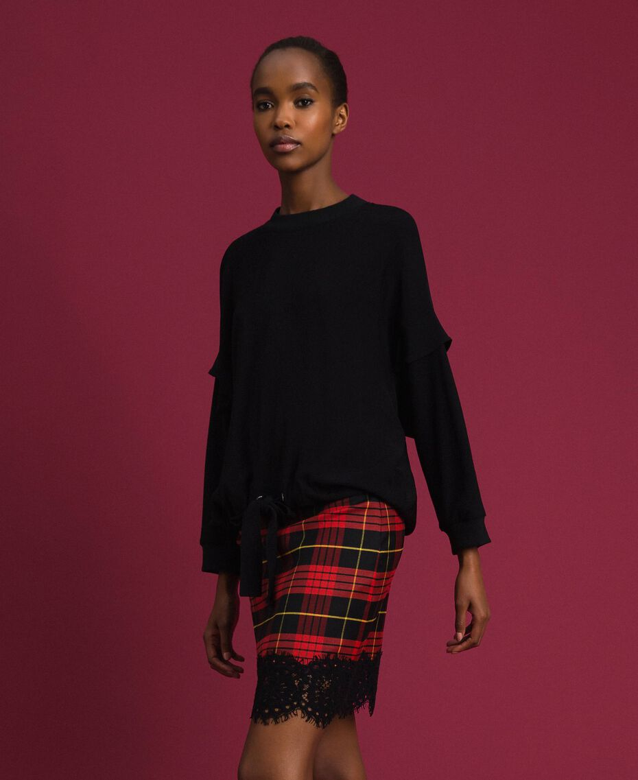 Georgette blouse with drawstring Black Woman 192TP2381-02
