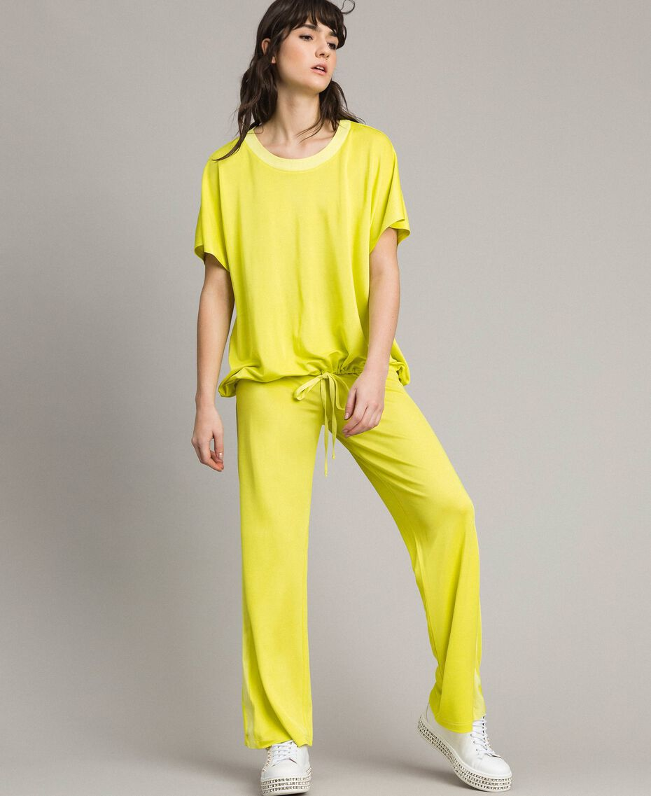 "T-shirt with drawstring ""Lemon Juice"" Yellow Woman 191LL23GG-02"